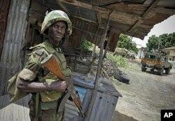 Un soldat ougandais de la force de l'Union africaine à Mogadiscio