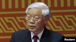 Tổng Bí thư Đảng Cộng sản Việt Nam Nguyễn Phú Trọng phát biểu trong buổi lễ khai mạc Đại hội đảng 12 tại Hà Nội, ngày 21/1/2016.