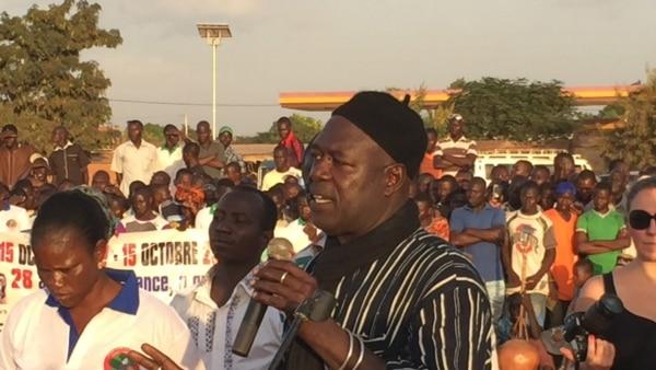 Alouna Traoré, le seul survivant du coup d'Etat du 15 octobre 1987 lors d'une cérémonie d'hommage à Thomas Sankara, Ouaga 15 oct. 2015. Photo Bagassi Koura
