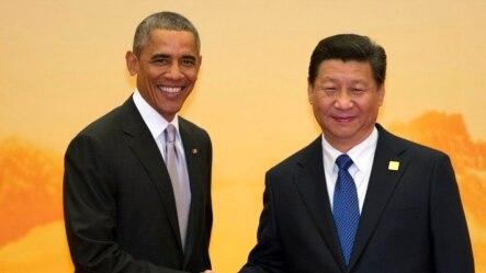 美国总统奥巴马和中国国家主席习近平在亚太经合峰会欢迎仪式上握手。双方在这次会议上达成了减少碳排放的协定。(资料照片)