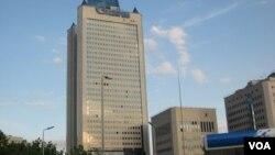在莫斯科的俄罗斯天然气工业公司总部(美国之音白桦拍摄)