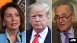 Le président américain Donald Trump, encadré par les leaders démocrates du congrès, Nancy Pelosi et Chuck Schumer.