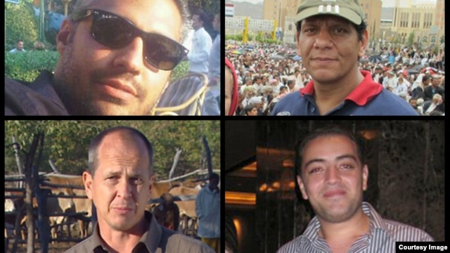 Al Jazeera reports that journalists, Peter Greste, Mohamed Fahmy, Baher Mohamed and Mohamed Fawzy are being held after being arrested by Egyptian security forces on Dec. 29. (Al Jazeera)