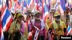 Người biểu tình chống chính phủ xuống đường ở thủ đô Bangkok, ngày 9 tháng 12, 2013.