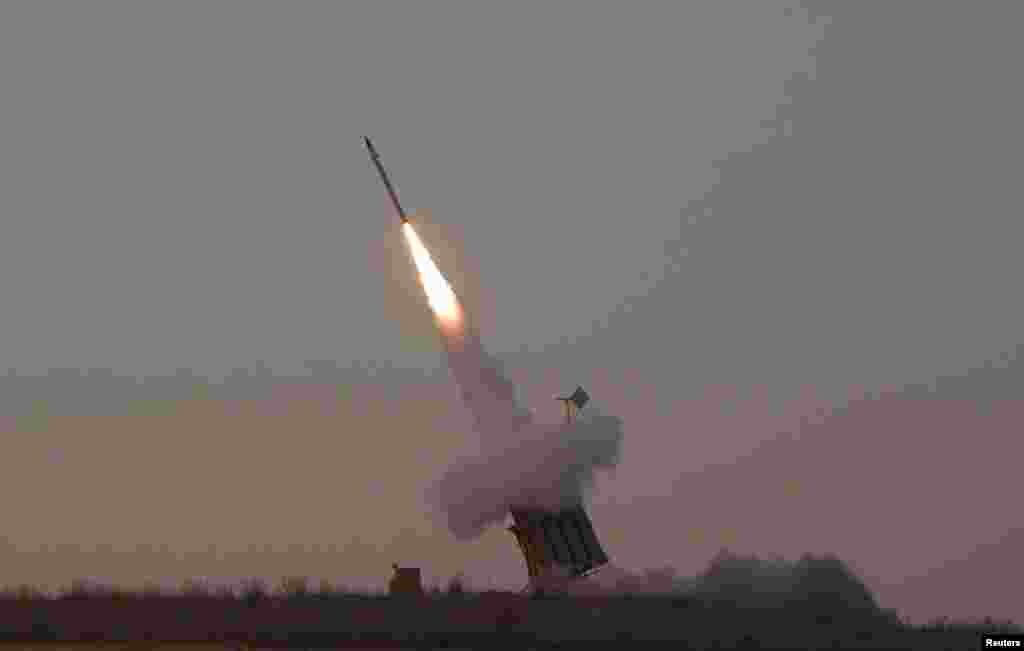 An Iron Dome launcher fires an interceptor rocket near the southern town of Sderot November 15