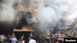 29일 시리아 수도 다마스쿠스 인근 자라마나에서 차량 폭탄 공격으로 파괴된 건물.