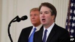 Ông Brett Kavanaugh phát biểu khi được Tổng thống Donald Trump đề cử làm Thẩm phán Tòa án Tối cao tại Tòa Bạch Ốc hôm 9/7/2018.