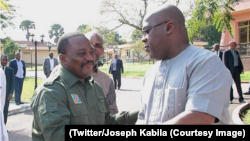 Le président nouveau Félix Tshisekedi, à droite, salue son prédécesseur Joseph Kabila à la Cité de l'Union africaine, Kinshasa, 17 février 2019. (Twitter/Joseph Kabila)