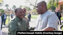 Joseph Kabila, mokonzi ya kala, akutani na mokonzi ya sika Félix Tshisekedi, Cité ya Union africaine, Kinshasa, 17 février 2019. (Twitter/Joseph Kabila)