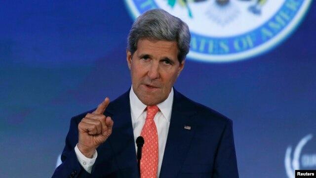 FILE - U.S. Secretary of State John Kerry speaks at the State Department in Washington, June 16, 2014.