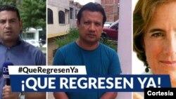 El medio de comunicación RCN Televisión denuncia posible secuestro de dos de sus periodistas, quienes investigaban la desaparición de Salud Hernández-Mora, derecha.