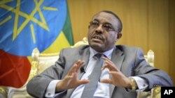 Le premier ministre éthiopien Hailemariam Desalegn lors d'un passage télévisé, le 21 avril 2016.