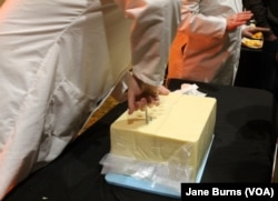 Judges at the U.S. Cheese Championship give visitors to the gala a chance to see how they do their job and to ask questions, in Green Bay, Wis., March 7, 2019. The first step is pulling out a piece of cheese to sample from a 40-pound block of cheddar.