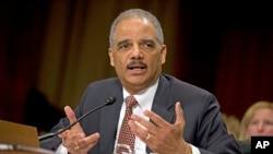 Jaksa Agung AS Eric Holder memberikan kesaksian di depan Komisi Kongres AS mengenai kebijakan serangan pesawat tanpa awak (6/3).