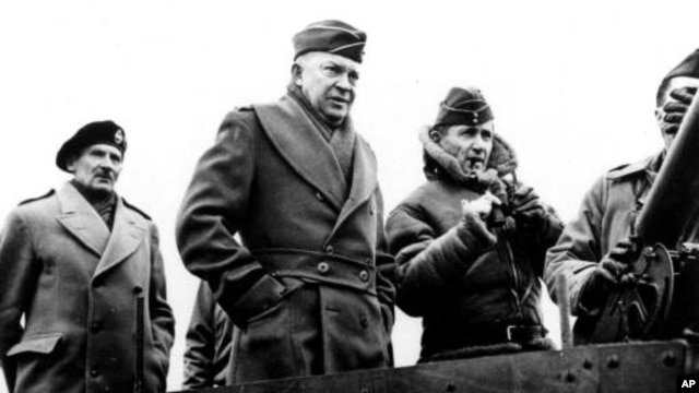 General Dwight Eisenhower in March 1944 between British Air Chief Marshal Arthur Tedder, right, and Field Marshal Bernard Montgomery