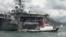 """美國""""里根號""""航母打擊群停靠香港補給。(視頻截圖)"""