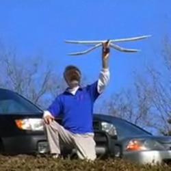 Professor David Alexander launches the University of Kansas model of the microraptor