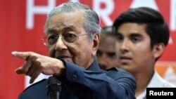 Tân Thủ tướng Malaysia Mahathir Mohamad tại cuộc họp báo ở Menara Yayasan Selangor, Pataling Jaya, Malaysia, ngày 12/5/2018.