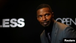 "FILE - Jamie Foxx poses at the premiere of the movie ""Sleepless"" in Los Angeles, California, Jan. 5, 2017."