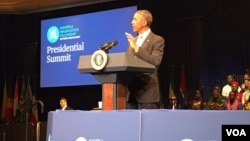 President Barack Obama addressing Mandela Washington fellows in Washington DC.