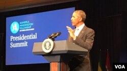 President Barack Obama addressing Mandela Washington fellows in Washington DC.