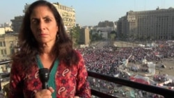 VOA's Sharon Behn in Cairo's Tahrir Square, July 5, 2013.