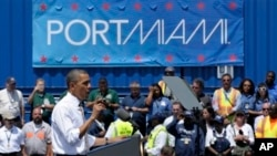 President Barack Obama speaks at the Port of Miami, Florida, March 29, 2013.