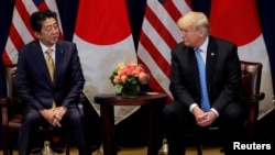 Thủ tướng Nhật Shinzo Abe và Tổng thống Trump gặp nhau tại Liên Hợp Quốc tháng Chín năm ngoái.