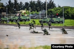 台灣軍方本週進行為期5天4夜的年度漢光演習,壓軸的三軍聯合反登陸作戰於週四(7月16日)展開(美國之音黃麗玲攝)