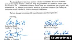 Chữ ký một số dân biểu Mỹ trong bức thư gửi TT Donald Trump.