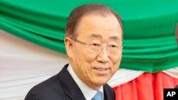 Le secrétaire général de l'ONU Ban Ki-moon lors d'une visite au Burundi, 2 février 2016
