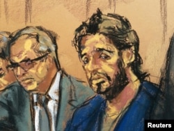 Turkish gold trader Reza Zarrab is shown in this court room sketch with lawyer Marc Agnifilo (L) as he appears in Manhattan federal court in New York, April 24, 2017.