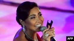 Sherine Abdel Wahab lors de la 53ème édition du Festival international du Théâtre romain de Carthage le 28 juillet 2017.