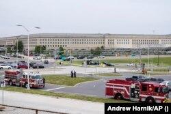 Kendaraan darurat terlihat di luar area Metro Pentagon Selasa, 3 Agustus 2021, di Pentagon, Washington.