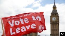 گروهی از موافقان جدایی بریتانیا از اتحادیه اروپا در لندن.