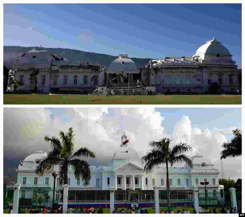 A combination photo shows the presidential palace before (bottom) and after the January 12, 2010 earthquake that struck the Caribbean nation in Port-au-Prince. (Reuters)