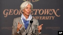 "International Monetary Fund (IMF) Managing Director Christine Lagarde speaks on ""The Challenges Facing the Global Economy"" ahead of the 2014 IMF/World Bank Annual meetings, Oct. 2, 2014, at Georgetown University in Washington."