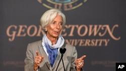 2014年10月2日,國際貨幣基金總裁拉加德在華府發表講話談全球經濟面臨的挑戰。