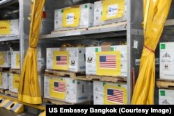 Vaksin Pfizer sumbangan AS untuk Thailand. (Foto: dok).