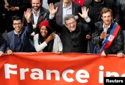 "FILE - Jean-Luc Melenchon, leader of far-left opposition ""France Insoumise"" (France Unbowed) political party attends a demonstration against French government reforms in Marseille, France, Apr. 14, 2018."