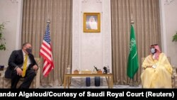 U.S. Secretary of State Mike Pompeo meets with Saudi Crown Prince Mohammed bin Salman during his visit to the country, in Riyadh, Saudi Arabia, November 22, 2020. Picture taken November 22, 2020.