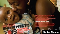 FILE - A United Nations promotional poster for the Millennium Development Goals.