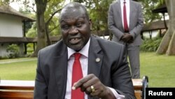 South Sudan's rebel leader Riek Machar speaks during an interview in Nairobi, Kenya, July 8, 2015. Detainee William Endley's LinkedIn profile shows that he once worked as a senior security consultant for Machar, a former South Sudanese vice president.