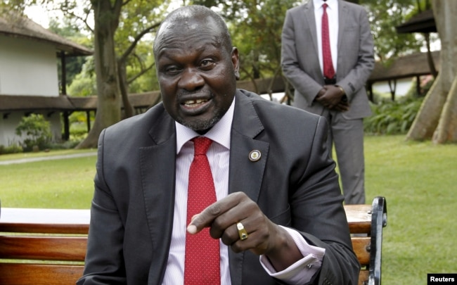 FILE - South Sudan's rebel leader Riek Machar speaks during an interview in Nairobi, Kenya, July 8, 2015.