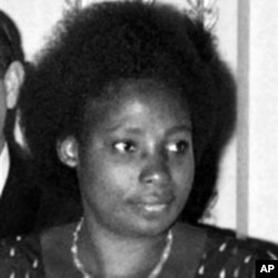 A 1977 file photo shows the wife of Juvenal Habyarimana, Agathe, during an official meeting at the Elysee Palace in Paris