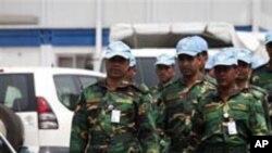Les soldats de l'ONU a Abidjan, en Cote d'Ivoire Abidjan. Le 31 Décembre 2010.