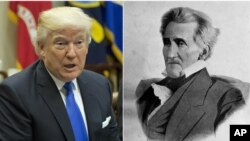 From left, President Donald Trump, the 45th president of the United States, President Andrew Jackson, the seventh president of the United States.