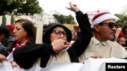 Les Tunisiens manifestent contre le retour des jihadistes dans les rues de Tunis, Tunisie, le 8 janvier 2017.