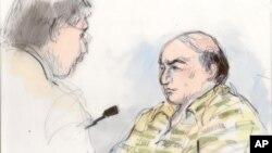 Gambar sketsa pengadilan ini menunjukkan Nakoula Basseley Nakoula sedang berbicara dengan pengacaranya, Steven Seiden (kiri) (27/9). Hakim Federal AS, Segal memerintahkan penahanan tanpa pembebasan dengan uang jaminan atas Nakoula, karena pernah melanggar masa percobaan hukuman tahun 2010.