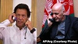 Presiden Afghanistan Ashraf Ghani (kanan) melakukan pembicaraan telepon dengan PM Pakistan Imran Khan (foto: ilustrasi).